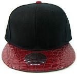 Blank Faux Alligator Skin Retro Snapback Hats Wholesale - Black / Burgundy