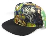 Wholesale Blank Animal Print Snapbacks Hats - Chrome Tiger | Black Brim