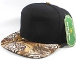 Wholesale Blank Animal Print Snapback Hats - Tigerface | Black Crown