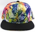 Wholesale Plain Flower Snapbacks Cap | Butterfly and Dragonfly | Rainbow Navy and Black Brim