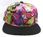 Wholesale Blank Flowers Snapbacks Hat | Butterfly and Dragonfly | Rainbow Pink and Black Brim