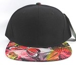 Wholesale Plain Floral Snapback Caps | Butterfly and Dragonfly | Red and Black Crown