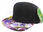 Wholesale Blank Marble Art Snapbacks Hats | Waterdrop Print | Purple and Black Crown