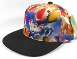 Bulk Blank Marble Art Snapback Caps | Waterdrop Print | Red and Black Brim