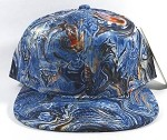 Bulk Blank Marble Art Snapbacks Caps | Liquid Stirred Print | Blue