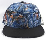 Wholesale Blank Marble Art Snapbacks Hat | Liquid Stirred Print | Blue and Black Brim