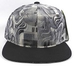 Wholesale Blank Marble Art Snapbacks Caps | Liquid Stirred Print | Gray and Black Brim