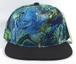 Wholesale Blank Marble Art Snapbacks Caps | Wave Pattern - Turquoise and Black Brim