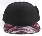 Wholesale Blank Marble Art Snapbacks Caps | Pointy Circles and Zigzag Pattern - Black Crown