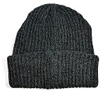 Wholesale Winter Knit Long Cuff Beanie Hats - Solid Charcoal