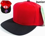 Blank Kids Jr. Snap back Hats Wholesale - Two Tone - Red | Black