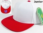 Blank Kids Jr. Snap back Hats Wholesale - Two Tone - White | Red
