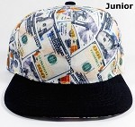 Junior Kids Blank Snapback Caps Wholesale - Money Bill Printed - Black Brim