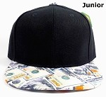 Junior Kids Blank Snapback Caps Wholesale - Money Bill Printed - Black Top