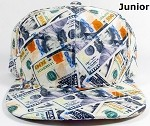 Junior Kids Blank Snapback Caps Wholesale - Money Bill Printed - Solid