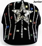 Junior / Kids - Wholesale Distressed Rhinestone Bling Baseball Cap - Star and Stripes - Black