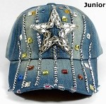 Junior / Kids - Wholesale Distressed Rhinestone Bling Baseball Cap - Star and Stripes - Denim
