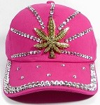 Rhinestone Distressed Bling Baseball Cap Wholesale - Shiny Brim - Golden Cannabis - Hot Pink