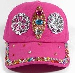 Rhinestone Distressed Bling Baseball Cap Wholesale - Shiny Brim - Floral Stones - Hot Pink