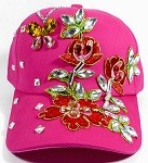 Rhinestone Distressed Bling Baseball Caps Wholesale - Flower Branches - Hot Pink