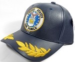 Wholesale Faux Leather Military Baseball Cap - United States Air Force Officer