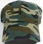 Washed 100% Cotton Blank Baseball Cap - New Strapback / Buckle - Camo (20 LEFT IN THE STOCK)