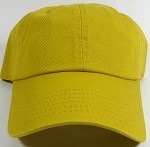 Washed 100% Cotton Blank Baseball Cap - New Strapback / Buckle - Mustard Yellow