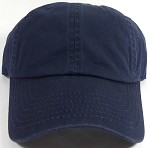 Washed 100% Cotton Blank Baseball Cap - New Strapback / Buckle - Navy