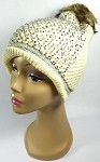 Wholesale Bling Rhinestone Winter Fashion Fur Pom Long Beanie - Beige