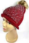 Wholesale Bling Rhinestone Winter Fashion Fur Pom Beanie - Burgundy