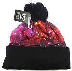 Wholesales Fashion Pom Pom Beanie Winter Hats - Galaxy - Violet Pink