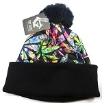 Wholesales Fashion Pom Pom Beanie Winter Hats - Kush & Cannabis - Chrome