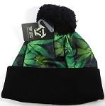 Wholesales Fashion Pom Pom Beanie Winter Hats - Kush & Cannabis - Black | Green