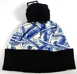 Wholesales Fashion Pom Pom Beanie Winter Hats - Money - Blue Benjamin