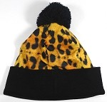 Wholesales Fashion Pom Pom Beanie Winter Hats - Leopard Print