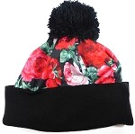 Wholesales Fashion Pom Pom Beanie Winter Hats - Rose Floral - Red