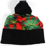 Wholesales Fashion Pom Pom Beanie Winter Hats - Kush & Cannabis - Red | Green