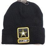 Wholesale Military Long Beanie - US Army Logo - Black