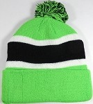 Beanies Wholesale | Pom Pom Beanies Trendy Winter Hats - Neon Green and Black