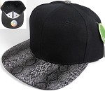 Animal Print Snakeskin Snapback Hats Caps Wholesale - Black | Black (Darker Tone)