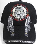 Native Pride Baseball Caps Wholesale - Wolf Dreamcatcher - Black