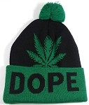 Wholesale Weed Trend Long Cuff Pom Pom Beanie - DOPE - Green and Black