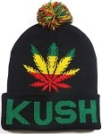 Wholesale Weed Trend Long Cuff Pom Pom Beanie - Kush - Black