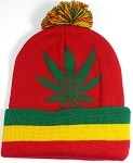 Wholesale Weed Trend Long Cuff Pom Pom Beanie - Cannabis - Red