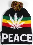 Wholesale Weed Trend Long Cuff Pom Pom Beanie - Peace - Black and Reggae