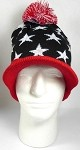 Wholesale Winter Visor Pom Pom Beanie - American Stars - Black and Red