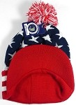Wholesale Winter Visor Pom Pom Beanie - American Stars - Navy and Red