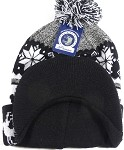 Wholesale Winter Visor Pom Pom Beanie - Christmas Reindeer and Snowflake - Black