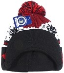 Wholesale Winter Visor Pom Pom Beanie - Christmas Reindeer and Snowflake - Mixed Burgundy and Black