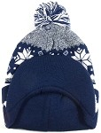 Wholesale Winter Visor Pom Pom Beanie - Christmas Reindeer and Snowflake - Navy
